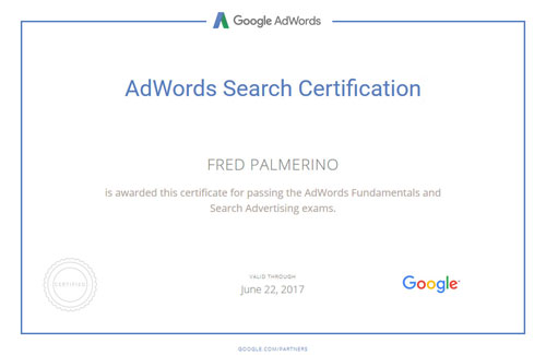 Google AdWords Certification - Fred Palmerino - Lancer Media
