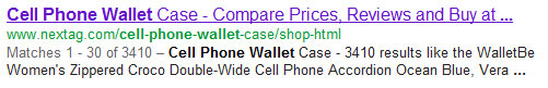 NexTag Google SERP result for cell phone wallets