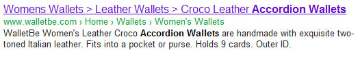 WalletBe Google SERP result for accordion wallets - with greater than sign as title tag separator