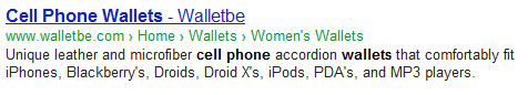 WalletBe Google SERP result for cell phone wallets - with a dash