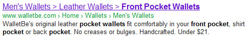 WalletBe Google SERP result for front pocket wallets - with greater than sign as title tag separator